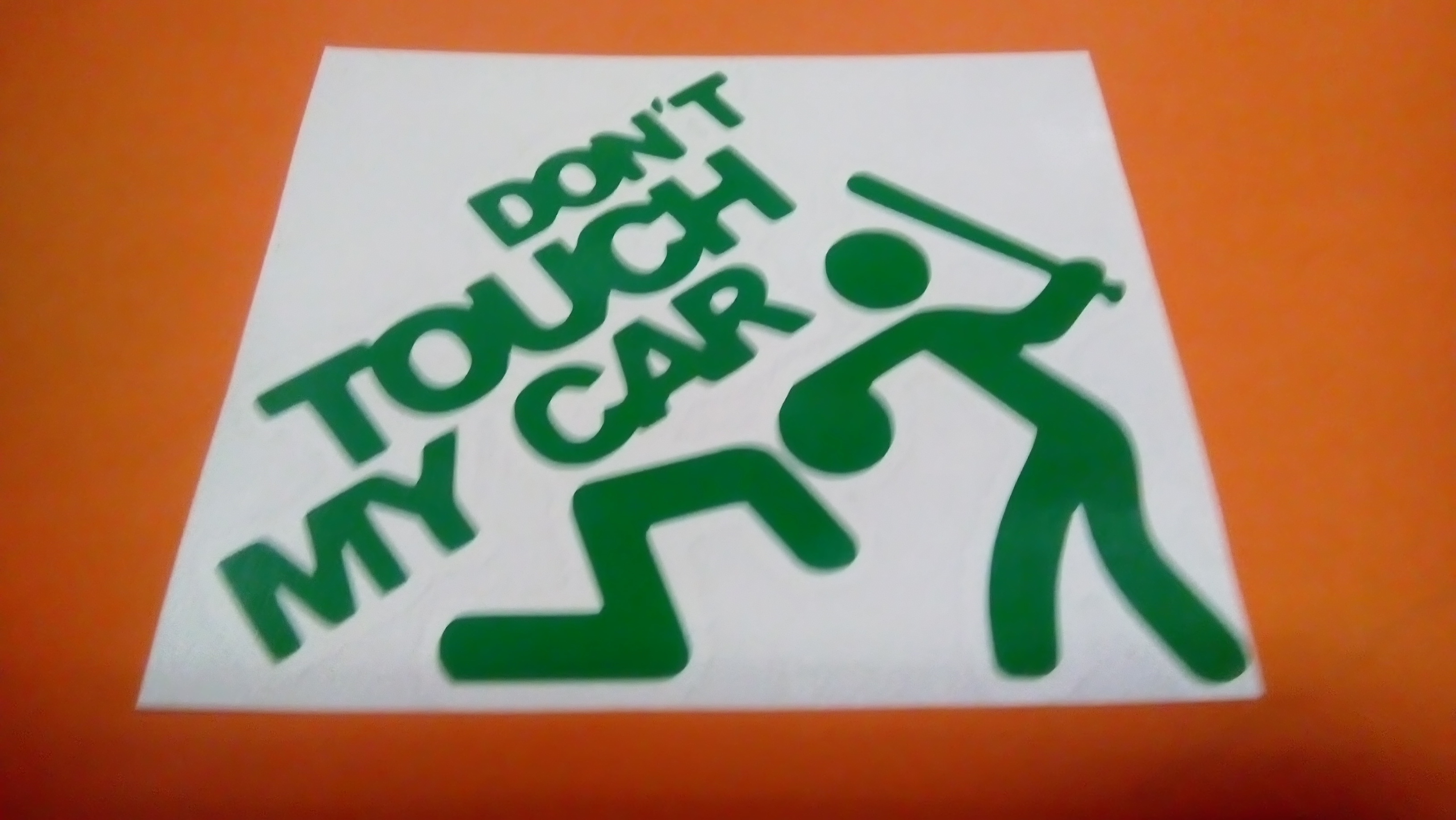dont touch my car zelená 15cm